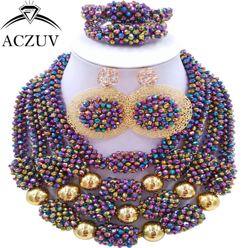 ACZUV Latest Multicolor AB African Beads Bridal Wedding Jewelry Sets Nigerian Necklace and Earrings D4R018ACZUV Latest Multicolor AB African Beads Bridal Wedding Jewelry Sets Nigerian Necklace and Earrings D4R018