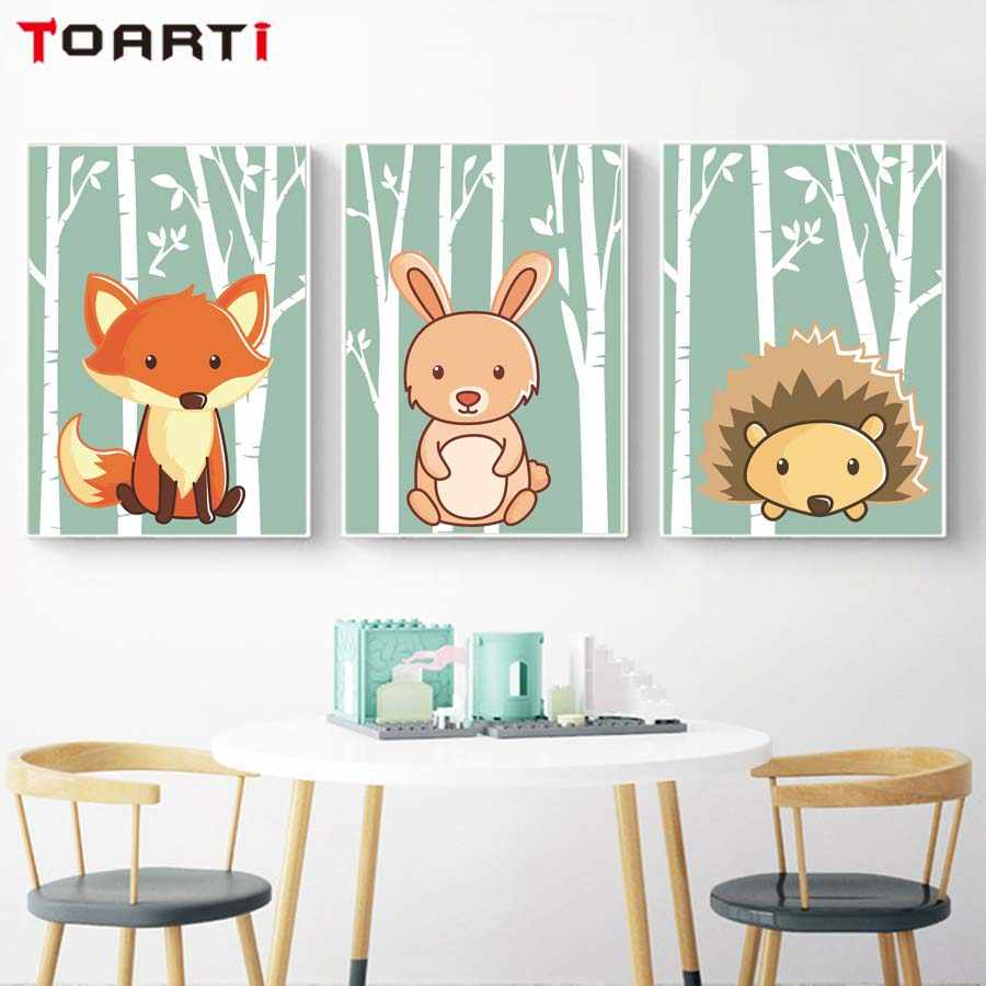 Woodland jungle forest animals canvas painting wall poster and prints for kids bedroom cartoon wall picture art mural wall decor