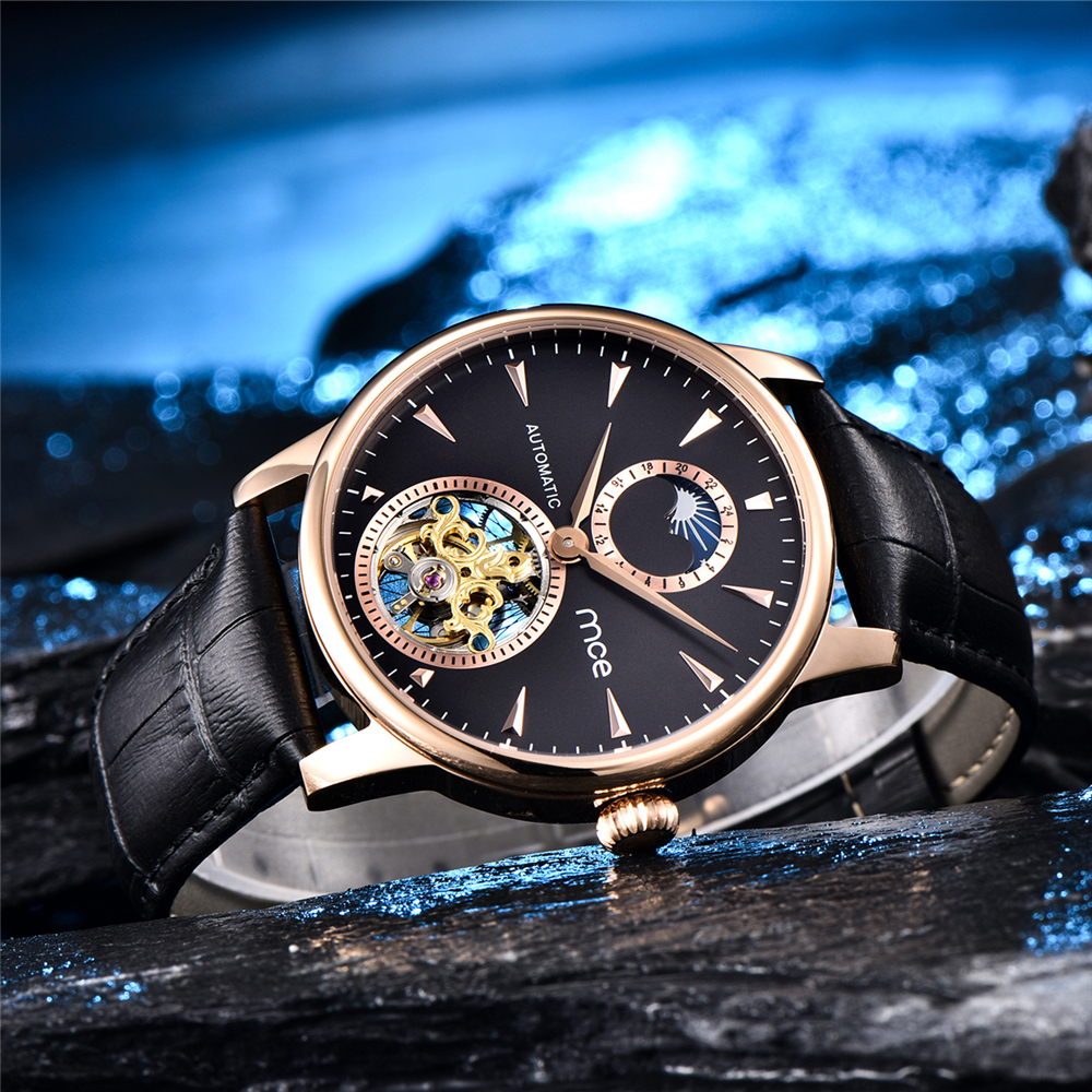 Watch Men Machine Fully automatic tourbillon Hollowing Moon phase men s fine steel business watch Waterproof