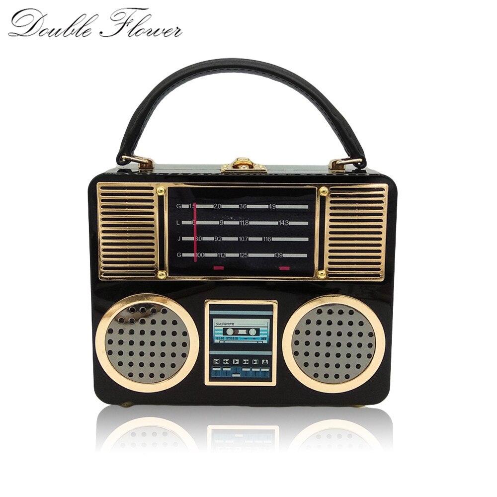 Double Flower Retro Radio Black Acrylic Women Top Handle Totes Bags Shoulder Handbag Crossbody Bag Ladies