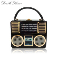 Double Flower Retro Radio Black Acrylic Women Top Handle Totes Bags Shoulder Handbag Crossbody Bag Ladies Hard Case Box Clutch