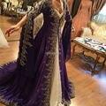 Árabe Dubai Musulmana Vestido de Noche de Manga Larga de Encaje Vestidos de Fiesta 2016 Glamorous Púrpura Turcos Vestidos de Noche Formal Wear