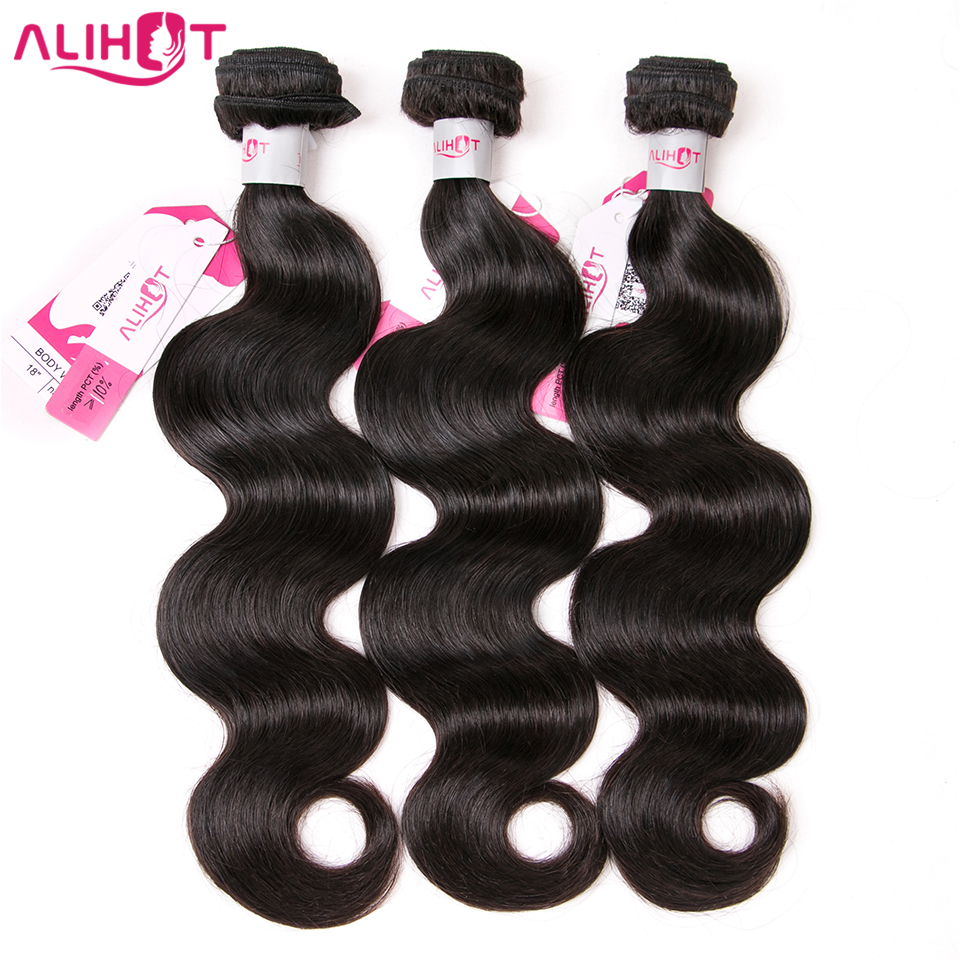 ALI HOT Brazilian Body Wave Hair Weave Bundles Natural Color Human Hair 3 Piece 8-28inch Mixed Length Remy Hair Extensions