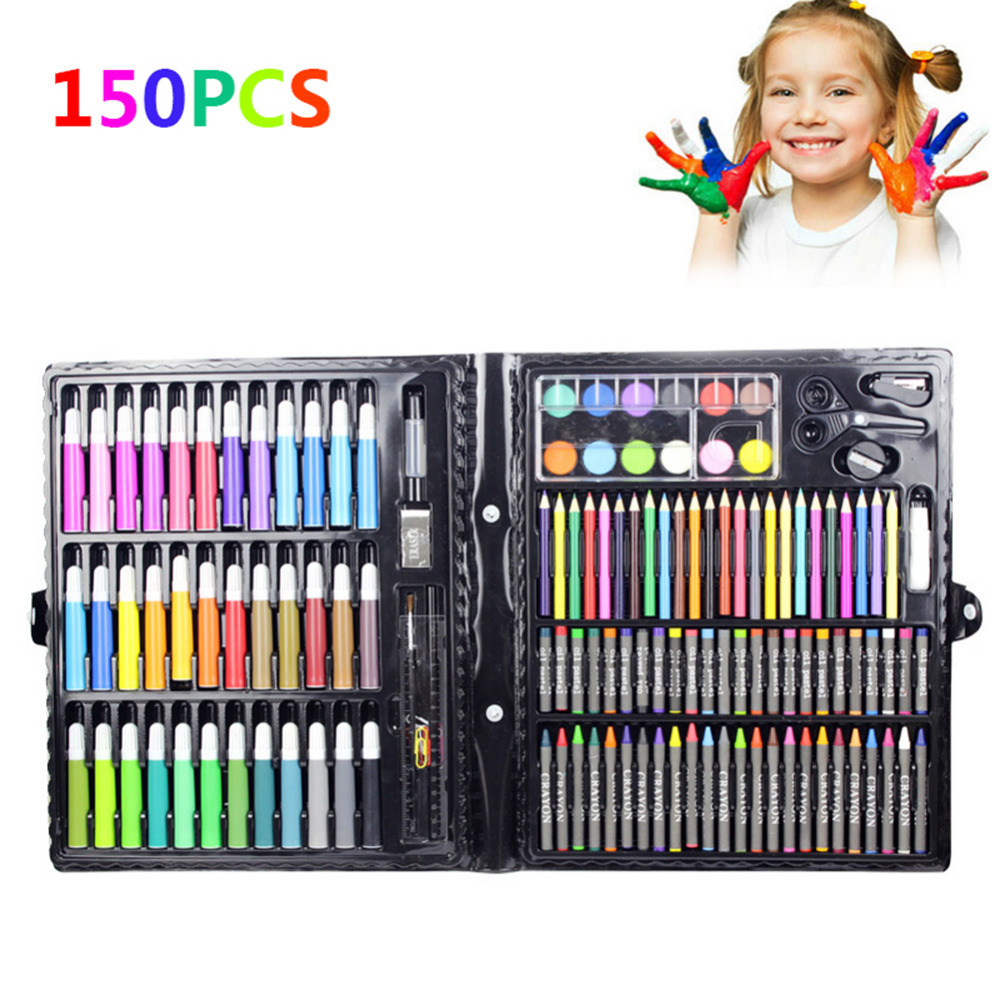 150pcs Childrens Drawing Painting Sketching Tools Set Watercolor Pen Crayon Oil Pastel Paint Brush Drawing Pen for Art Student