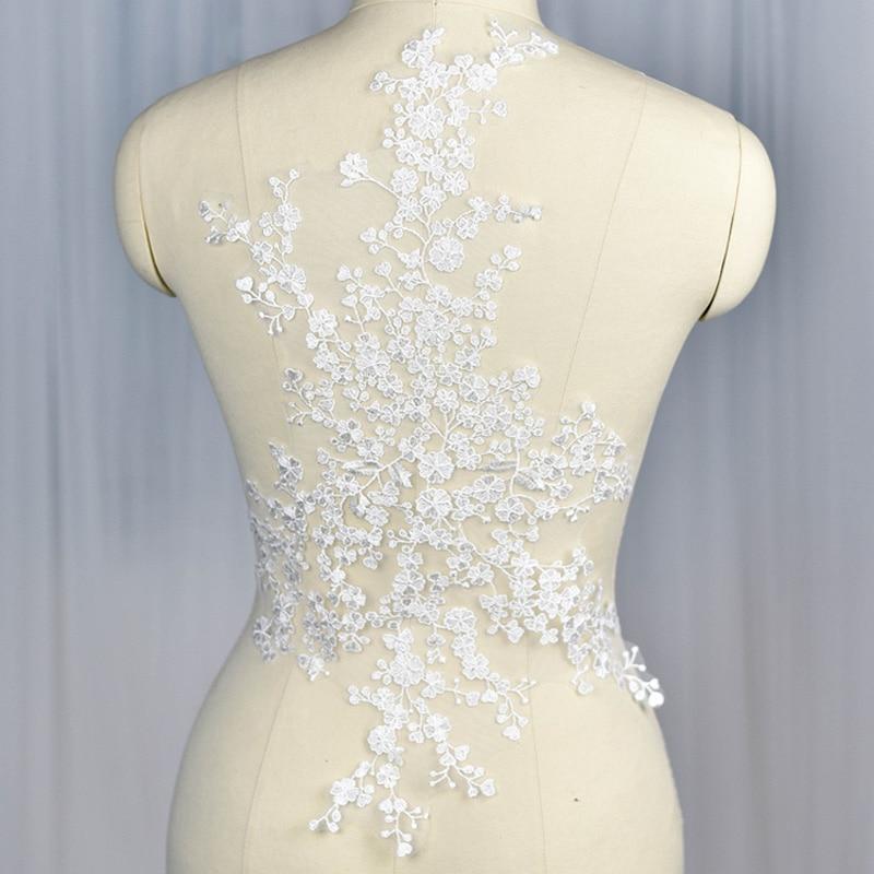 9d92c87343 Lujo con cable encaje recorte boda blanco bordado de tela de encaje para  vestidos de novia