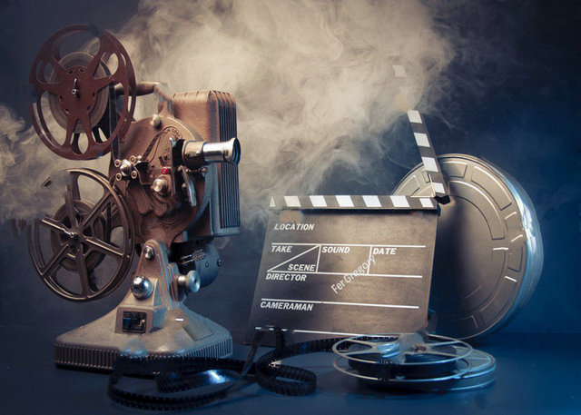 Old Filmmaking Scene Lighting Vintage Hollywood Theme Background Vinyl Cloth High Quality Computer Print Wall Backdrops