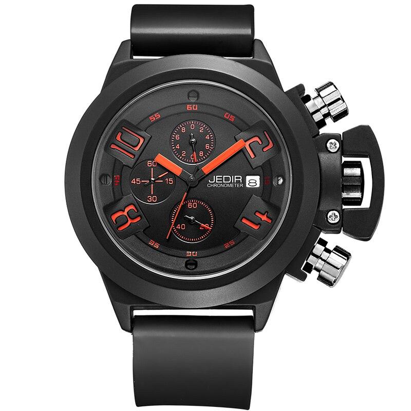 Prix pour 2016 JEDIR Fonction CHRONOGRAPHE Hommes Montres Top Marque De Luxe de Silicone de Sport Montres Hommes Horloge Mâle Montre À Quartz relojes