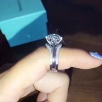 HOT Luxury New Bridal Set 2 Carat Wedding Rings Sets G H Cushion Princess Cut Best