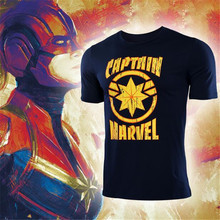 Hot New Movie Captain Marvel T Shirt Summer Cotton Man Women Printing Fashion Tees Fans Gift Black White