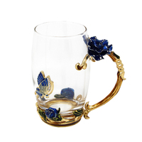 KEYTREND Creative Vintage Enamel Glass Cups Blue And Red Rose Handgrip Style With A Butterfly On
