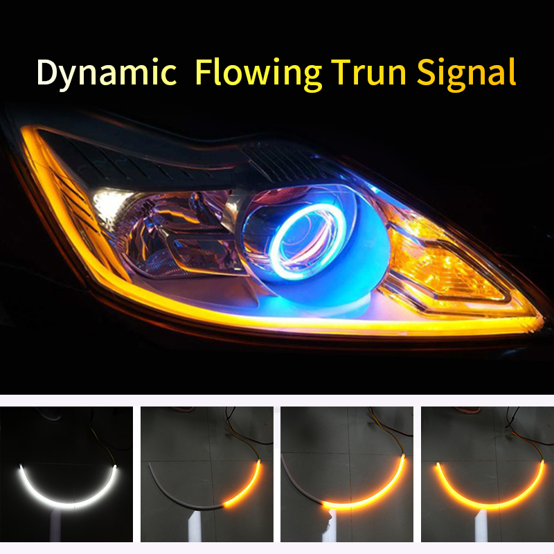 60cm LED DRL Strip Turn Signal Guide Light Dynamic Flowing Flexible Soft Tube Guide White Turn Yellow Car Daytime Running Lights 1 pair car led lights 12 24v drl head lights 8w turn light strip