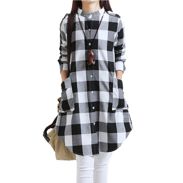 Winter Blouses for Women Tunic Women's Long Sleeve Woman Blouses Autumn 2016 Plaid Shirt Women with Pockets Party Club Checked