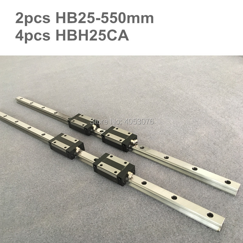 HGR 2 pcs linear guide HB25 550mm Linear rail and 4 pcs HBH25CA linear bearing blocks for CNC partsHGR 2 pcs linear guide HB25 550mm Linear rail and 4 pcs HBH25CA linear bearing blocks for CNC parts