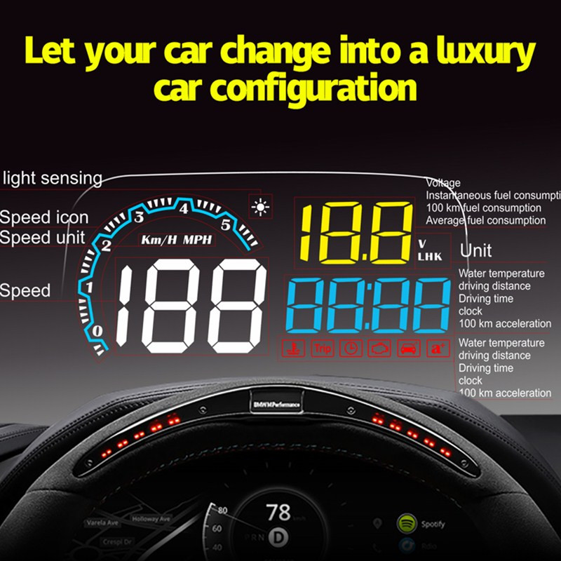 Image 2 - GEYIREN head up display C600 OBD2 smart display speedometer temperature car electronics speed projector HUD on the windshield-in Head-up Display from Automobiles & Motorcycles