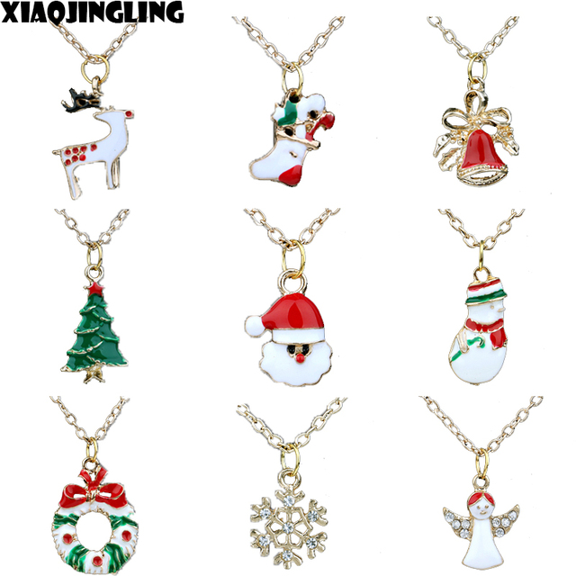 Xiaojingling christmas necklace cute snowman santa claus bells xiaojingling christmas necklace cute snowman santa claus bells snowflake pendants necklaces for women fashion jewelry xmas aloadofball Image collections