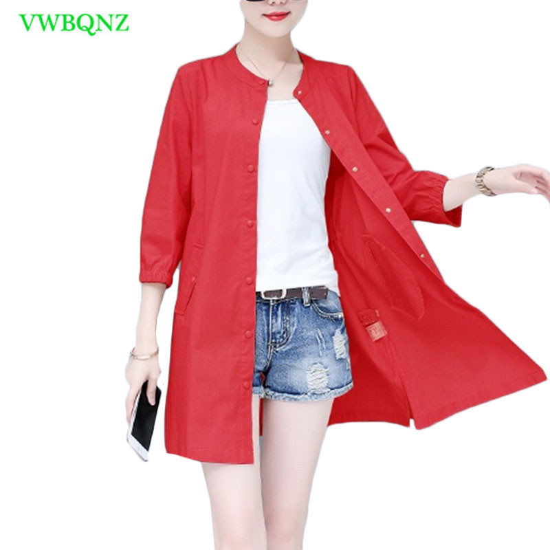 Long Thin Coat Female Summer New Korean Loose Casual Sun protection Shirt Womens Seven sleeves Fashion Windbreaker Coats A614