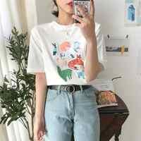 Women's T-shirts Korean Ulzzang Lovely Colorful Cartoon Animal Print Short Sleeve T-shirt Female Kawaii Ins Chic Top For Women