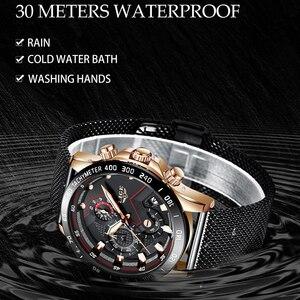 Image 4 - Lige relógios masculinos quartz, marca de luxo, casual, magro, malha de aço, à prova d água, esportivo, relógio 2019