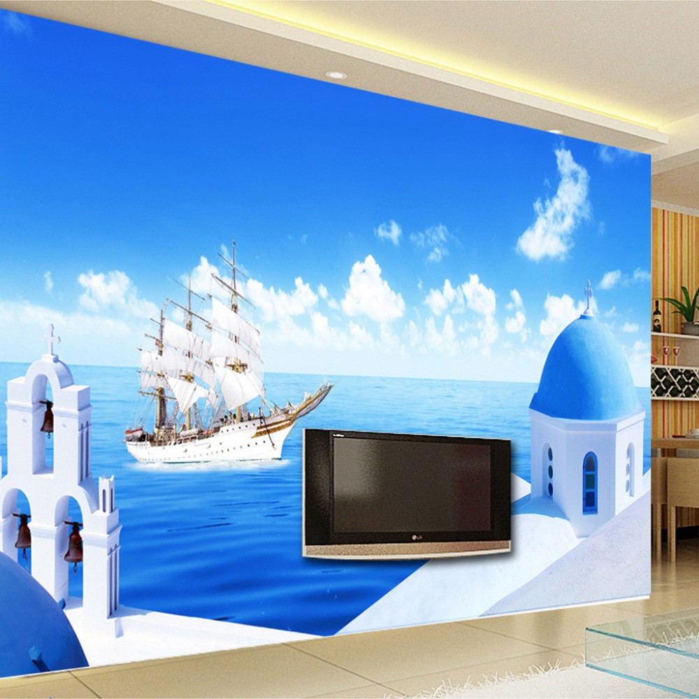 Custom 3D Photo Wallpaper High Quality Mediterranean Blue Sky And White Clouds Sailboat Photography Background Mural Wall Paper children room blue sky ceiling wallpaper white clouds wallpaper for kids bedroom blue sky and white clouds wallpaper paper roll