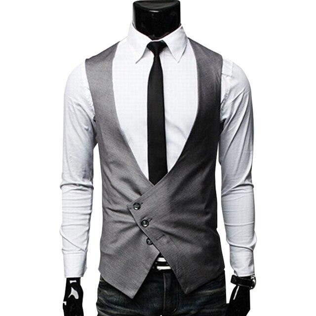 Весна новинка мужской костюм жилет черный серый v-образным вырезом Colete Masculino тонкий Fit однобортный мужские платье жилет