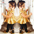 Children Clothing Gold Baby Girls Clothes Dress Top+Pants 2 pcs Gold Baby Girls Clothing Sets Birthday Party Dresses Kid Costume