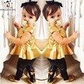 Ropa de los niños de los bebés de oro ropa dress top + pants 2 unids ropa de los bebés fija de oro vestidos de fiesta de cumpleaños traje del niño