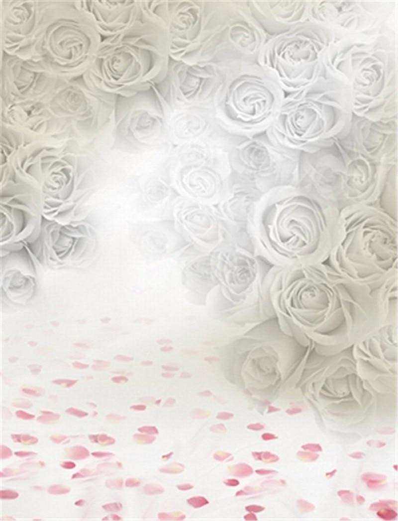 White Rose Background for Photo Studio Pink Flowers Vinyl