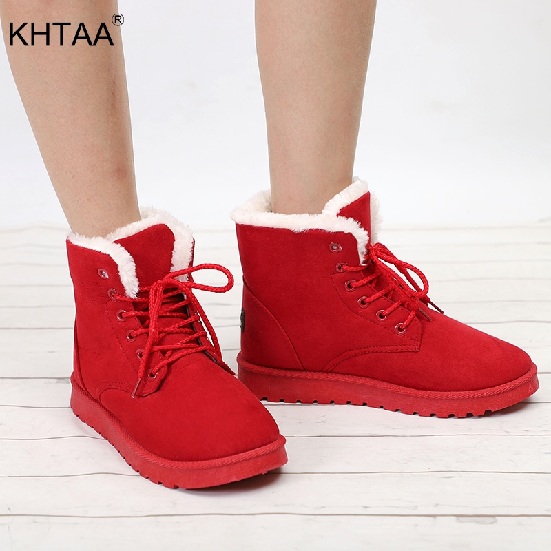 Plus Size Women Casual Ankle Boots Flat Platform Female Warm Fur Plush Snow Winter Boots Ladies 2018 Suede Lace Up Leisure Shoes shoes women flat winter ankle autumn snow boots 2017 female lace up fur boots brand outdoor sport girl shoe size 35 41 page 6