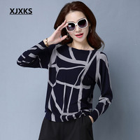 XJXKS Long sleeve cashmere women sweaters and pullovers 2018 spring and autumn new print pattern wild women sweater tops