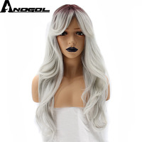 Anogol 2 Tones Long Natural Wave Grey Ombre Dark Roots Side Part Synthetic Wig With Bangs For Women