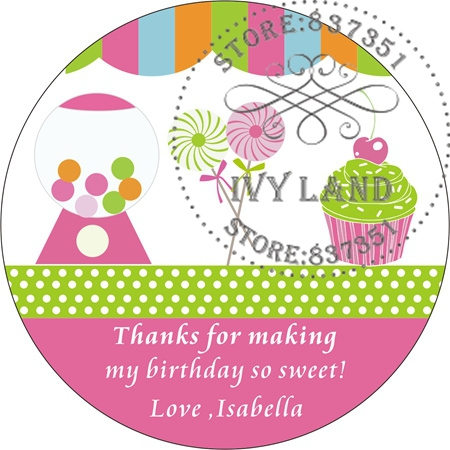 Free Shipping,New Paper,Custom Adhesive Sticker / Label,For Baby Shower / Birthday,Circle 5cm,B34