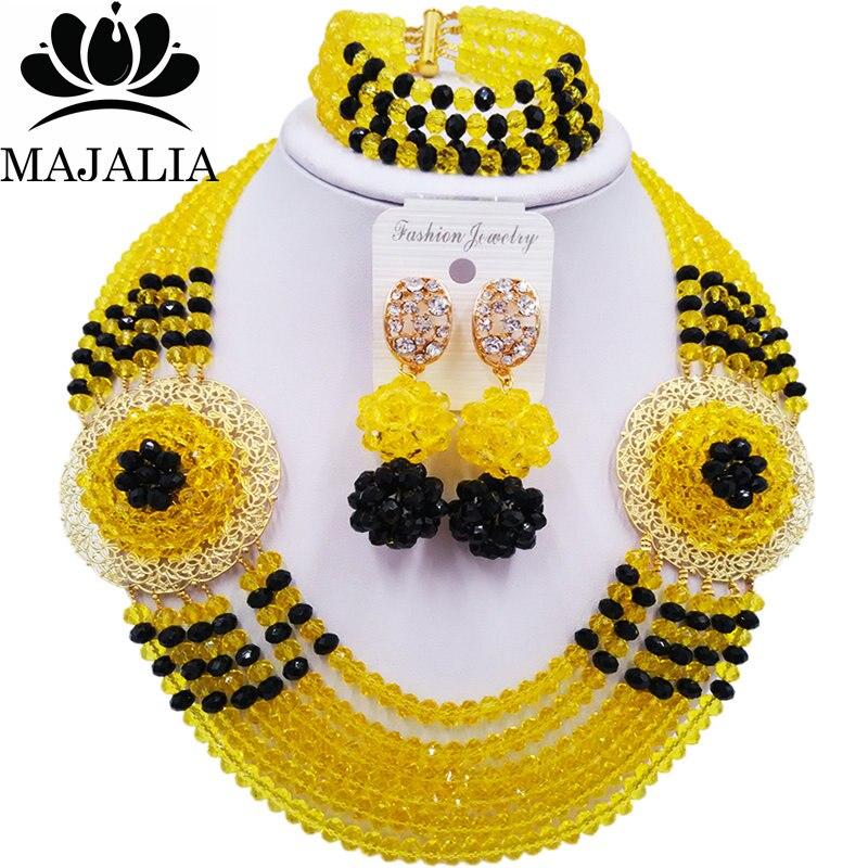 Majalia Romantic Nigeria Wedding African Beads Jewelry Set Yellow and Black Crystal Necklace Bridal Jewelry Sets 6OP030Majalia Romantic Nigeria Wedding African Beads Jewelry Set Yellow and Black Crystal Necklace Bridal Jewelry Sets 6OP030