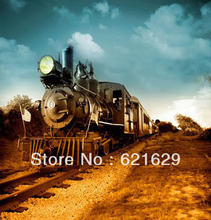 Moving train 8'x8′ CP Computer-painted Scenic Photography Background Photo Studio Backdrop HY-CM-4208
