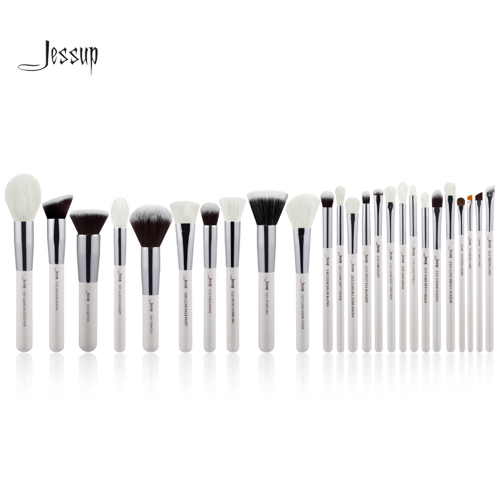 Jessup Pearl White/Silver Professional Makeup Brushes Sets High Quality beauty Make up Brush Tool kit Foundation Powder Blushes
