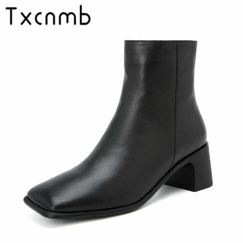 e1c9995b652 TXCNMB New Brand Boots Women Genuine Leather Ankle Boots Fashion Square Toe  Autumn Winter Party Shoes Woman Office Size42 41
