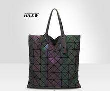 HXXW 2016 hot sale women designers noctilucent geometry package folding changed ling plaid single women shoulder bag handbag