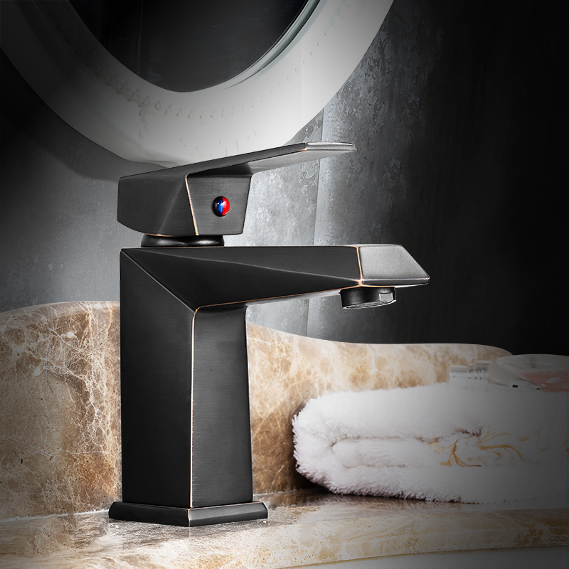European Style Black Table, Hand Wash Basin, American Faucet, All Copper Bathroom, Bathroom Hot And Cold Single Hole