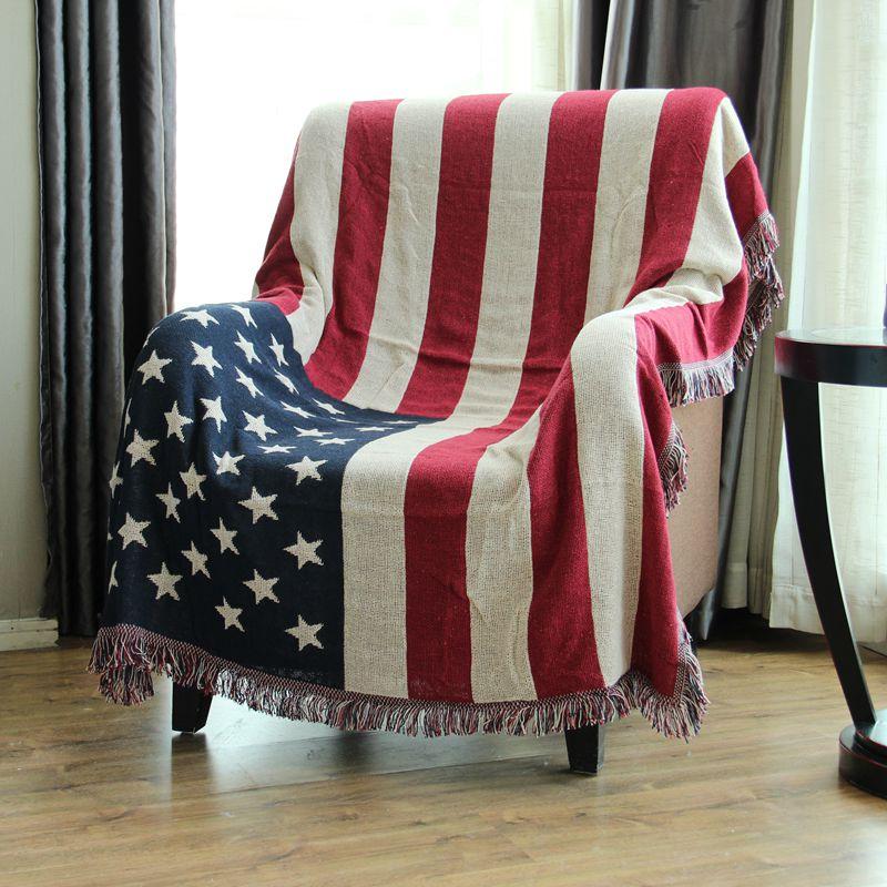 Drapeau britannique USA aigle drapeau américain canapé jeter couverture décor à la maison 100% coton fil climatiseur couverture 130*180 cm pour canapé