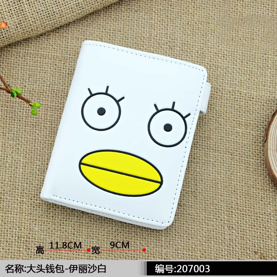 Anime Gintama White PU Cute Wallet with Button Printed w-Elizabeth Type B