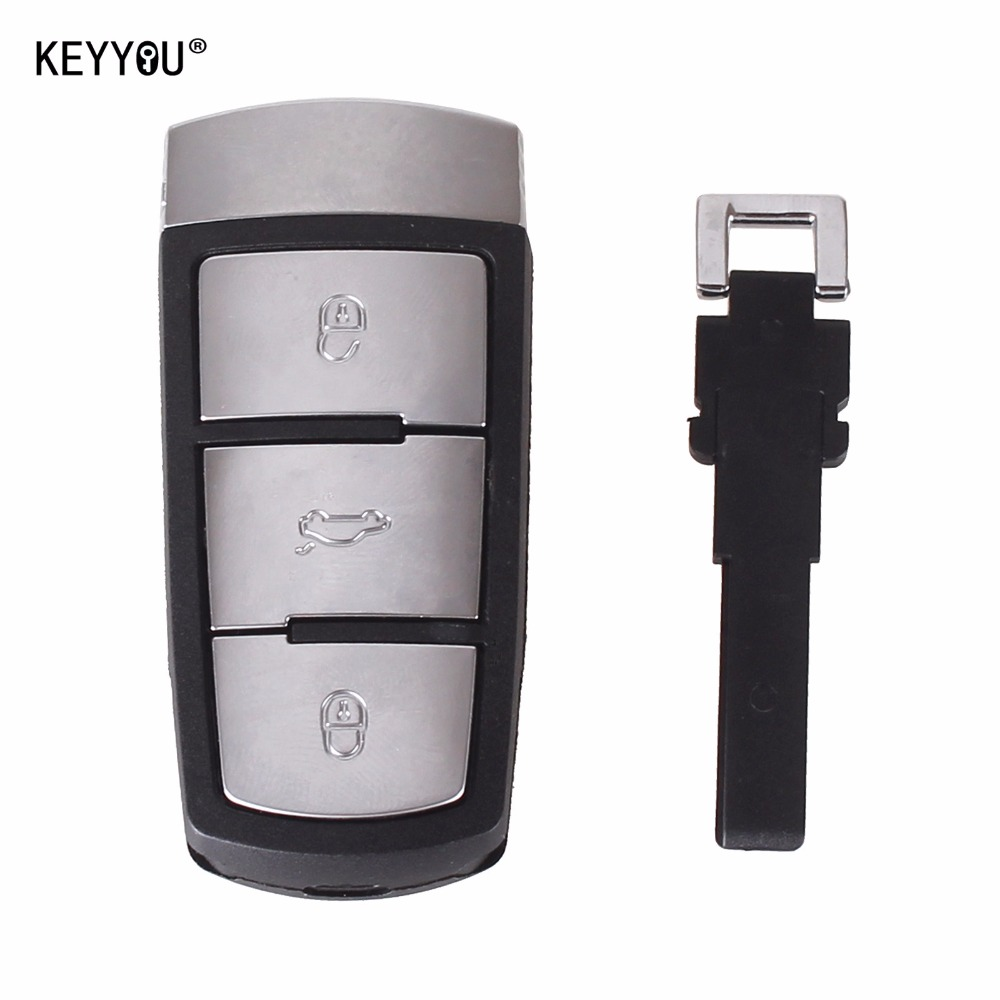 KEYYOU 5PCS LOT Replacement Shell Smart Remote Key Case Fob 3 Buttons For VW VOLKSWAGEN CC