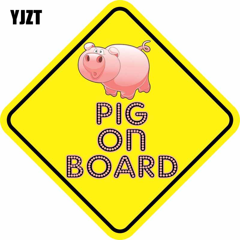 YJZT 12.7CM*12.7CM Lovely PIG ON BOARD Warning Mark Car Styling Reflective The Tail Of The Car Sticker C1- 7366