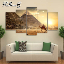 FULLCANG 5pcs diy diamond painting egyptian landscape full square/round drill 5d mosaic embroidery multi-picture decor FC694