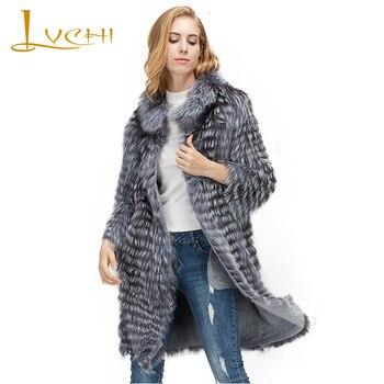 LVCHI Winter 2019 Contrast Color Real Fox Fur Coats Slim Real Natural Fox Fur Coat Women's With Fox Fur Collar Medium Fox Coats фото