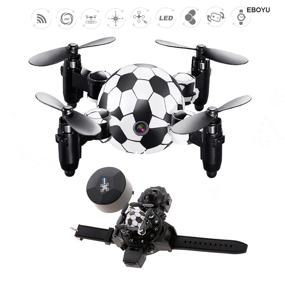 EBOYU DH 880 2.4Ghz 4CH 0.3MP Wifi FPV Camera Foldable Football Shape Watch Controller RC Quadcopter Altitude Hold RC Drone RTF