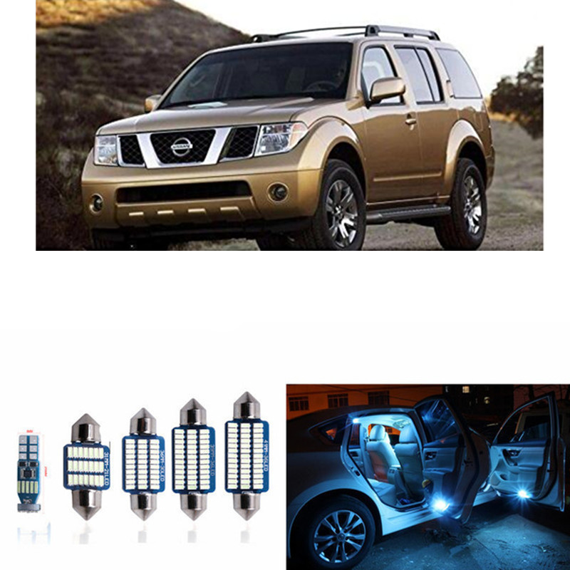 10pcs CANBUS Error Free LED Interior Light Kit Package For 2005-2012 Nissan Pathfinder Dome Map lights white ice blue 18pc canbus error free reading led bulb interior dome light kit package for audi a7 s7 rs7 sportback 2012