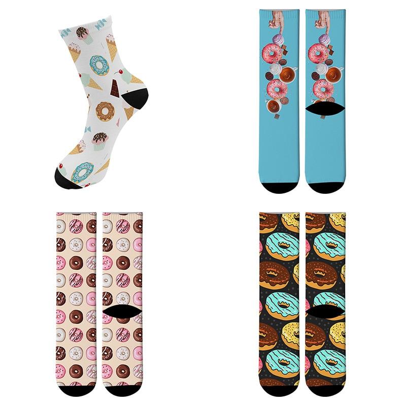 Funny Donut Printed Running Socks Women's Men's Street Funky Long Sock Harajuku Fashion Popular Novelty Socks 8ZWL05