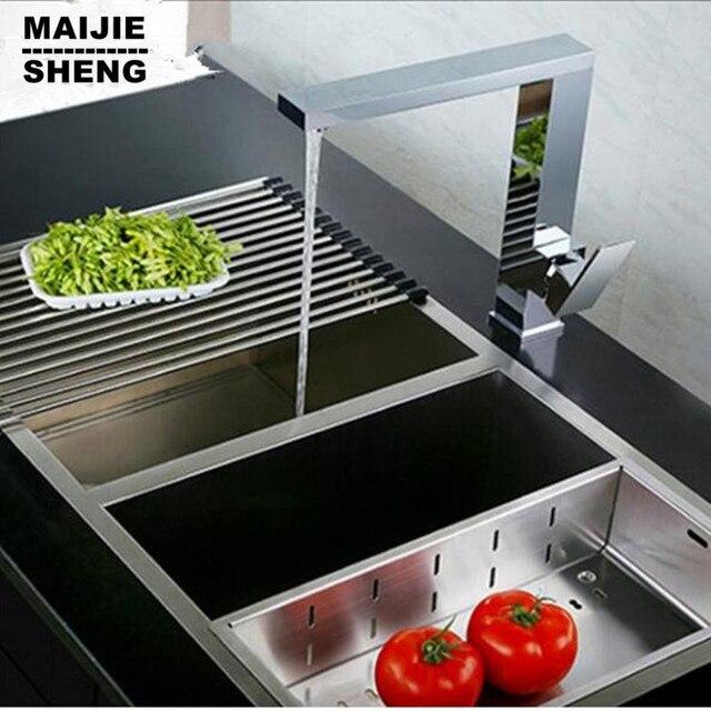 Ottone cromato rubinetto della cucina quadrato 360 rotazione ...