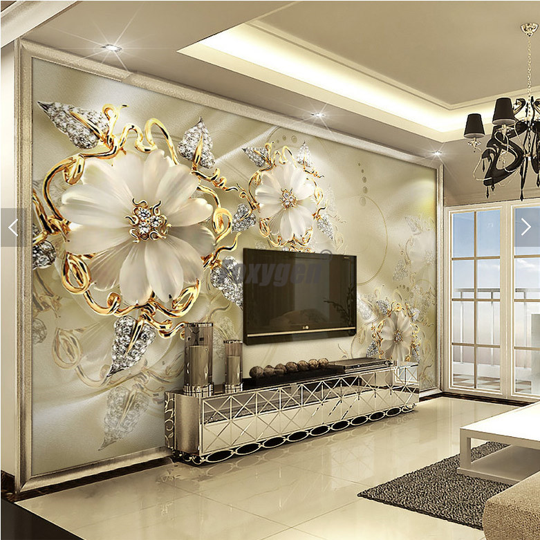 Customzied NON-WOVEN Wallpaper Mural With Kinds Of Nice 3D Flowers Design