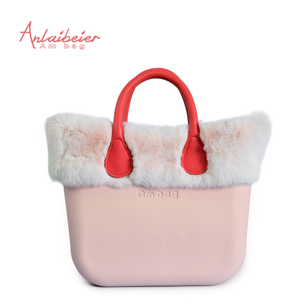 ANLAIBEIER EVA bag women handbag Obag Style Classic Mini AMbag body with Pink Rex Rabbit fur Trim black  Insert Handle many colours mini mid size 30cm x 10cm x 28cm o bag obag style ambag body women s fashion eva handbag
