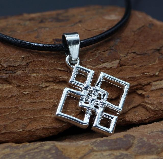 Youe Shone Knot Necklace Quaternary Pendant Alloy Square Irish